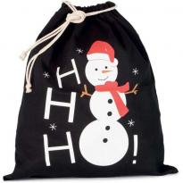 COTTON BAG WITH SNOWMAN DESIGN AND DRAWCORD CLOSURE, piros