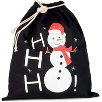COTTON BAG WITH SNOWMAN DESIGN AND DRAWCORD CLOSURE, fekete
