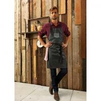 """DIVISION\"" WAXED LOOK DENIM BIB APRON WITH FAUX LEATHER, fekete"