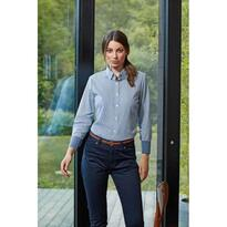 WOMEN'S COTTON RICH OXFORD STRIPES SHIRT, fehér