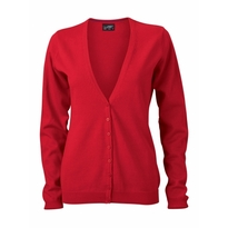 J&N Ladies' V-Neck Cardigan, piros XXL