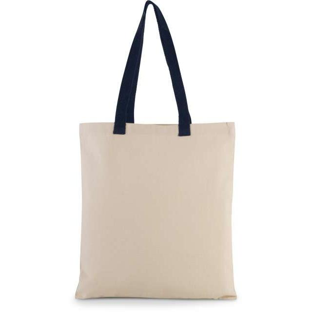 FLAT CANVAS SHOPPER WITH CONTRAST HANDLE, barna
