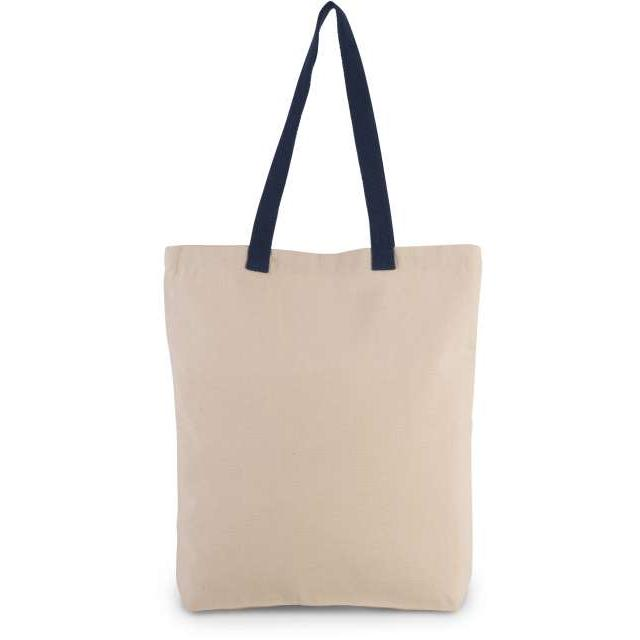 SHOPPER BAG WITH GUSSET AND CONTRAST COLOUR HANDLE, barna