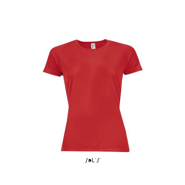 SPORTY WOMEN - RAGLAN-SLEEVED T-SHIRT, piros